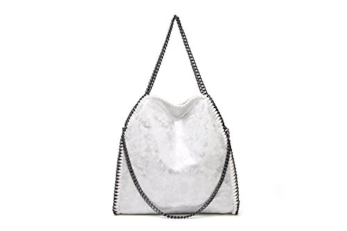 Angleliu Damen PU lässigen Kette Handtasche Modisch Schultertaschen Glitzer Beuteltasche (Silber)