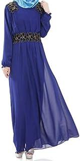 فستان شيفون اسلامي للربيع والصيف للنساء مقاس M، ازرق - فساتين عملية كاجوال
