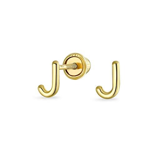 Pendientes de tuerca chapados en oro amarillo de 14 quilates, con forma de letra del alfabeto, con bola de seguridad, para adolescentes, para mujeres