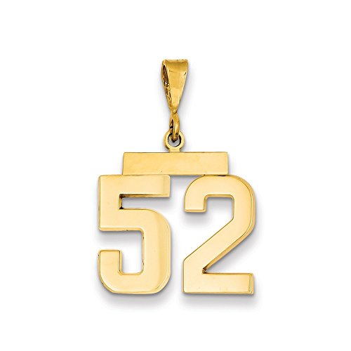 14k Yellow Gold Medium Number 52 Pendant Charm Necklace Sport Fine Jewelry For Women Gifts For Her