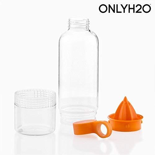 Appetitissime Sensations Juicer Trinkflasche mit Entsafter, Orange und Transpert, 7,5 x 7,5 x 25 cm