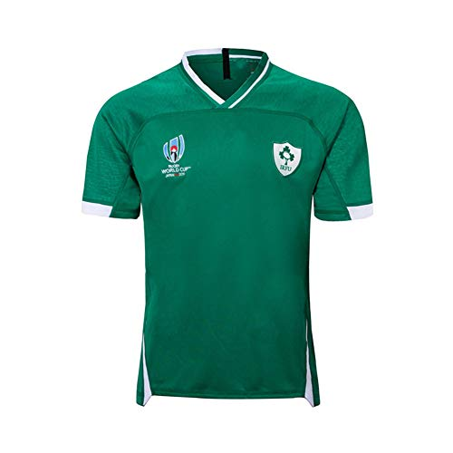 LQWW Sports Fan Jerseys,Ireland Rugby World Cup 2019 Polo Shirt 100% Polyester Short Sleeve Supporter's Polo Shirt,Green,XL