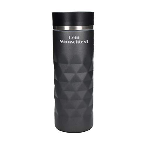 Uakeii Personalisierter Edelstahl Thermobecher Diamond 100% Auslaufsicher Isolierbecher Kaffeebecher to Go mit Namen 450ml Autobecher Travel Mug mit Wunschgravur ZUM SELBST GESTALTEN (Grau-Silber)
