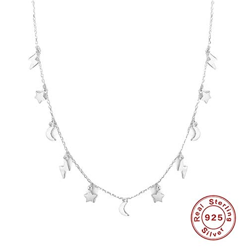 Stars Moon Lightning 925 Sterling Silver Necklace For Women 18k Jewelry Chain Choker Necklace Collar 1