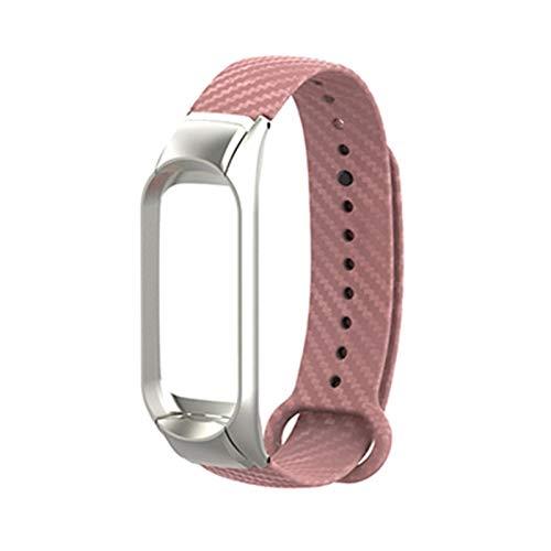 XIALINR Correa de reemplazo de Fibra de Carbono de Metal para Xiaomi MI Banda 5 4 3 Tecnología Moderna Correa Colorida Correa de reemplazo (Color : Pink, Size : For mi Band 4)