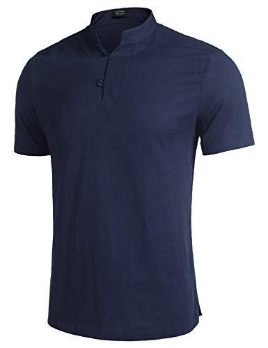 COOFANDY Herren Poloshirt Kurzarm Leinenhemd Herren Freizeit Einfarbig Tshirt Mit Kentkragen Regular Fit Sommer Polo Shirt