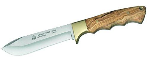 Puma Messer  IP Outdoor, Stahl 440 C, Olivenholz-Schalen, Messingbacken, Lederscheide 307912