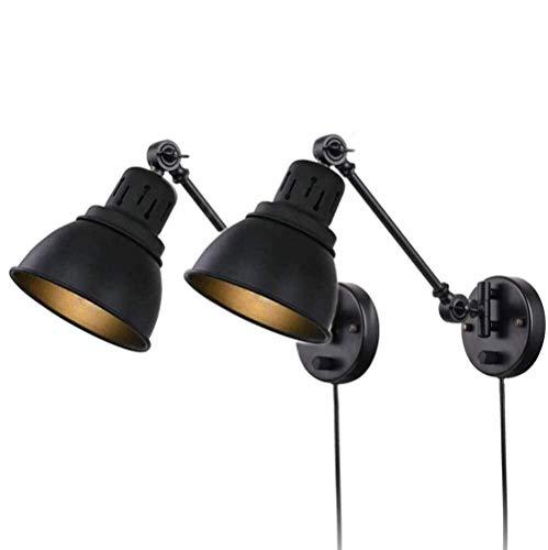 Dingygj Vintage wandlampen met schakelaar, verstelbare wandlamp met zwenkarm-wandlamp, aan de muur gemonteerde slaapkamer-bedlamp, flexibele leeslamp, energieklasse A