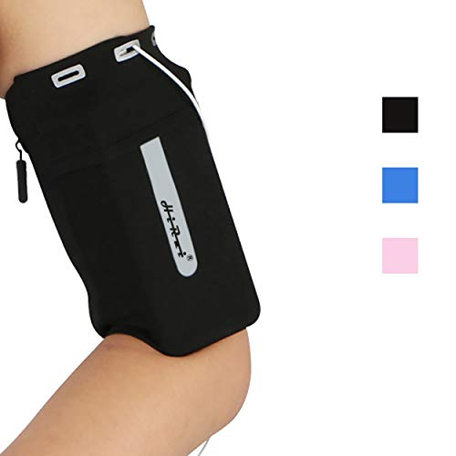 HiRui Running Armband Sleeve Universal Sports Armband Cell Phone Holder Armband for Men Women Kids, Fits All Phones with Case, Perfect for Running Cycling Travel Workout Enjoy Music (M, Black)
