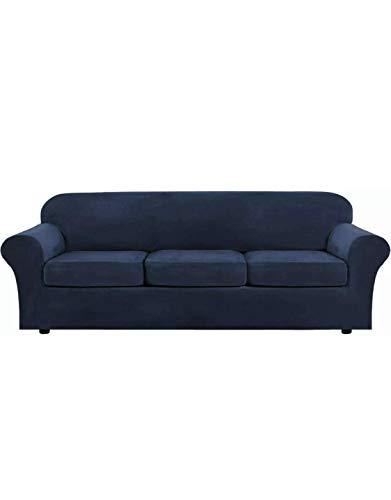 Pexils - Funda elástica de terciopelo suave para sofá de 3 plazas, protector de muebles para gatos, perros y niños, tamaño 71 x 92 pulgadas, color azul marino