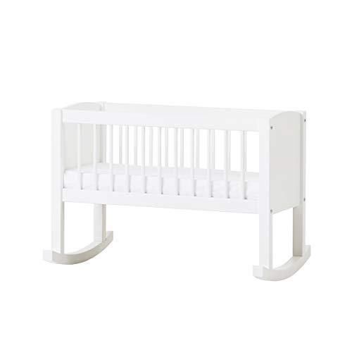 Hoppekids Wiege/Bank umbaubar zur Sitzbank, Kiefer massiv/MDF, Liegefläche 80 x 40 cm, Holz, weiß, 86 x 47 x 62 cm
