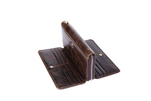 Mannen Lange Zip Portemonnee Lederen Zakelijke Handtas Multi-Functie Suede Leer Multi-Card Positie