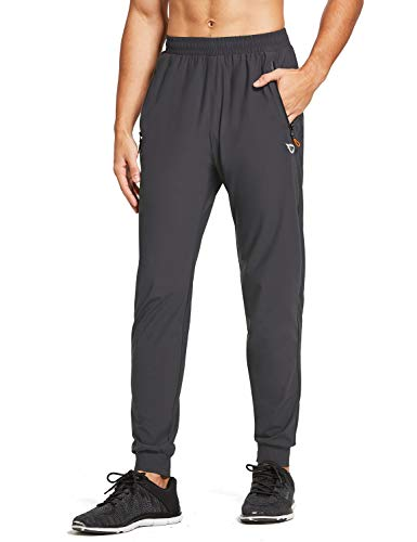 BALEAF Men's Lightweight Jogger Pants Workout Running Athletic Training Gym Quick Dry Tapered Joggers Zipper Pockets Grey M