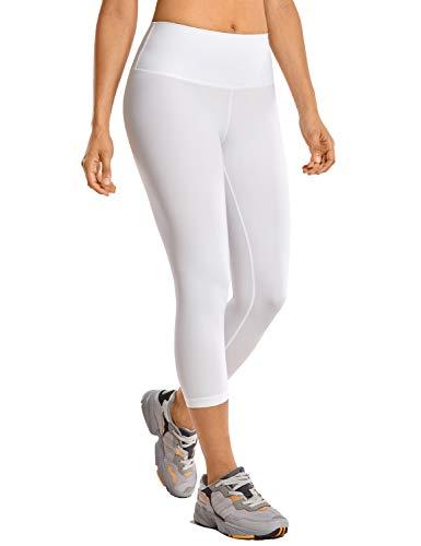 CRZ YOGA Mujer Compresión Mallas Largos Pantalones Deportivos Cintura Alta con Bolsillo-53cm Blanco 42