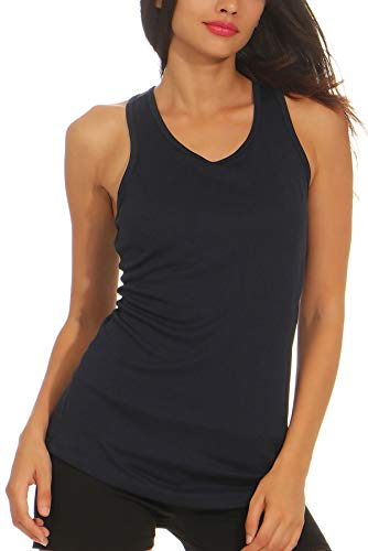 Mivaro Damen Sport Tank Top Basic Sport-Shirt für Fitness | schnell trocknend | Funktions-Shirt, Größe:S, Farbe:Dunkelblau