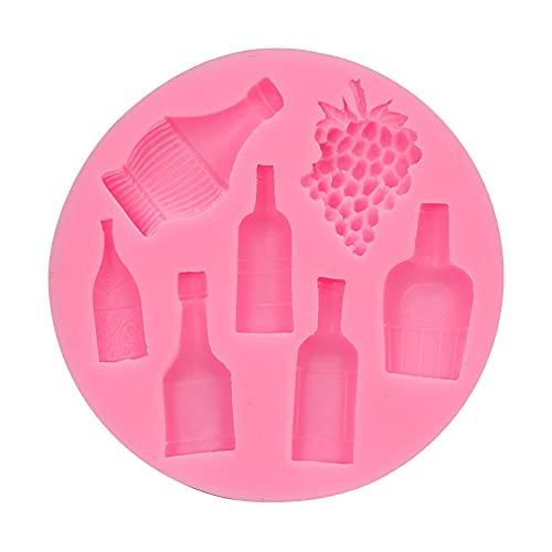 LEAMER Molde de silicona para fondant de botella de vino y uva, moldes de arcilla de polímero, moldes de arcilla pequeños para chocolate, fondant para hacer manualidades, decoración de tartas