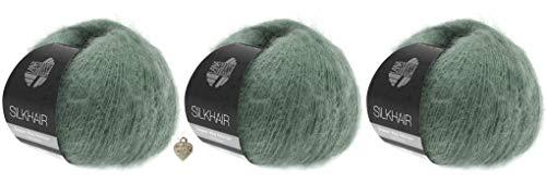 Wooob Lana Grossa Silkhair - 3 bolletjes fijn lace-garen van superkid-mohair en zijde en hart