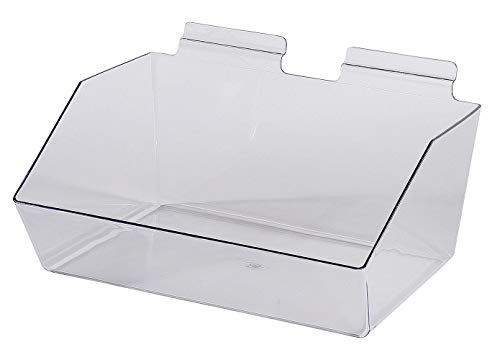 12 x 5 ½ x 9 ½ inch Clear Plastic Dump Bin - for Slatwall - Set of 2