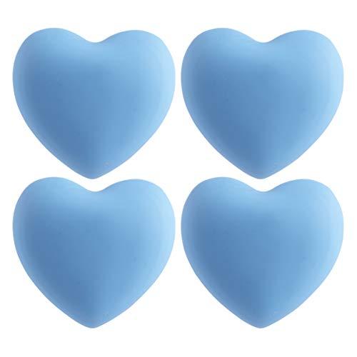 Vosarea 4Pcs Schrankknauf Griff Cartoon Herzform Weiche Gummi Schublade Zugring Griff Kleiderschrank Möbel Hardware für zu Hause Schlafzimmer Blau