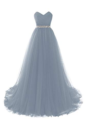 MisShow Damen Tüll Büstier Ballkleider Abendkleider lang elegant für Hochzeit Maxilang Kleider Hell-Blau 38