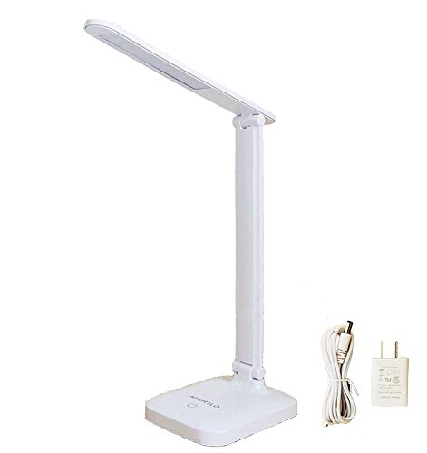 135hrs Rechargeable Battery Powered LED Desk Lamp,AFORTLO Cordless Study Book Reading Light(3 Color Dimmable,Stepless Brightness Dimmer),Touch Table Lamp for Office, Nightlight with UL Adapter(White)