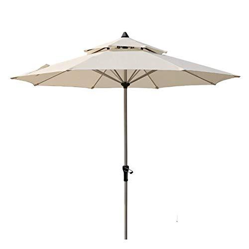 AWJ Sombrilla para jardín, 2,7 m, para Exterior, Patio, cafetería, Doble Techo, sombrilla, manivela, Aluminio (sin Base)