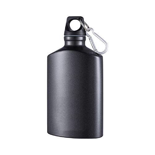 Aluminum Canteen Water Bottle, for Travel Camping Hiking Outdoor Recreation, with Hook Portable BPA Free, 18oz Black