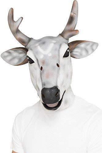 pour Hommes Femmes Gris Renne Cerf Masque Latex Festive pour Noël Nouveauté Brame Animal Costume Déguisement