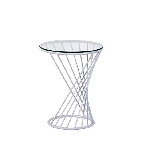 Yyqx Bedside Table Modern Small Wire Side Table Metal Glass Coffee End Side Table with Sofa Side Table Nightstand (Color : White)