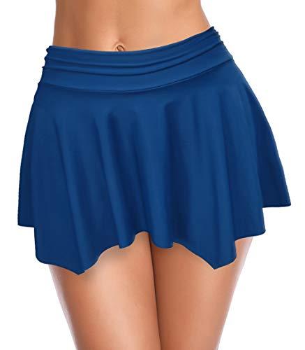 SHEKINI Irregolare Donna Gonna da Nuoto Bikini da Spiaggia Costumi da Bagno Gonna Costruito nel Vita Alta Boxer Pantaloni Elegante Ruched Gonna da Sportivo (Lake Blue B, M)