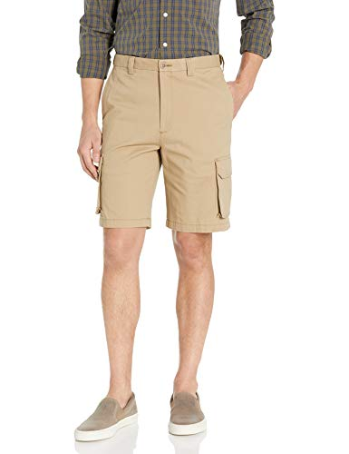 Haggar Men's Stretch Comfort Cargo Flat Front Short, Khaki, 38