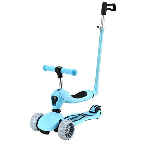 ZXJ 3-en-1 Kick Scooter 3 Ruedas con Asiento Desmontable Y Manija - Sentado O De Pie Paseo con Freno para Niños Y Niñas De 3-8 Años (Color : Blue)