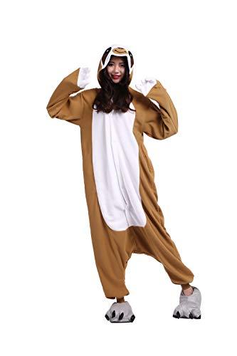 Tiere Onesie Karneval Kostüm Damen Jumpsuit Pyjama Schlafanzug Weihnachten Halloween Overall Nachtwäsche Faschingskostüme Herren Faultier