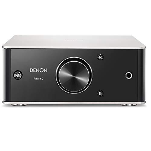 Denon PMA-60 Amplificador estéreo Integrado, diseño Compacto, 50 W x 2 Canales, transmisión Bluetooth, Entrada USB-B, orientación Horizontal o Vertical, Incluye Cable USB-A a USB-B