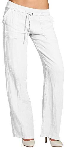 Caspar KHS025 Damen Casual Sommer Leinenhose, Farbe:Weiss, Größe:M - DE38 UK10 IT42 ES40 US8
