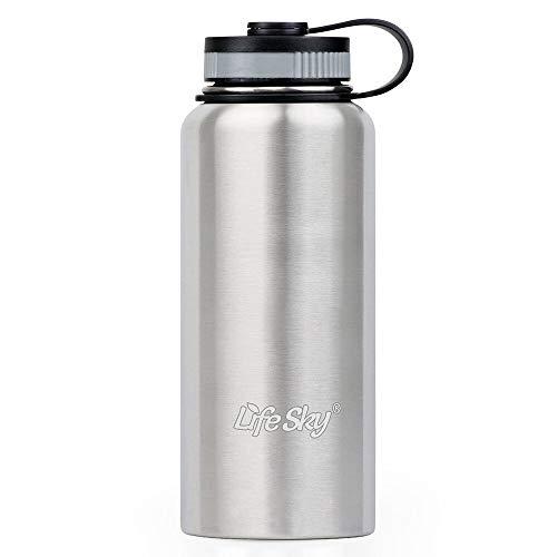 Lifesky deportes botella de agua de acero inoxidable–doble pared aislado al vacío,...