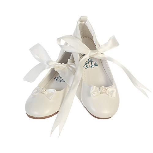 Ballerina Style Flats with Satin Ribbon (4 M US Big Kid, Ivory)