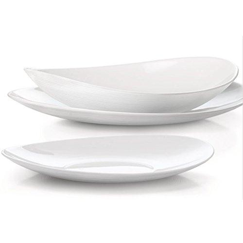 Bormioli Service d'assiettes Blanc 18 pièces Service pour 6 personnes Ligne Prometeo, verre trempé