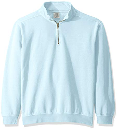 Comfort Colors Men's Adult 1/4 Zip Sweatshirt, Style 1580, Chambray, X-Large
