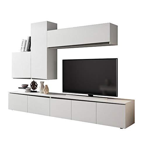 Tousmesmeubles Composition TV Bois Blanc/Bois Noir - Camelia n°1 - L 270 x l 45 x H 190 - Neuf