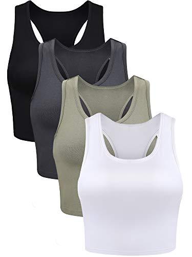 4 Pieces Basic Crop Tank Tops Sleeveless Racerback Crop Sport Top for Women (Black, White, Grey, Olive Green, Medium)