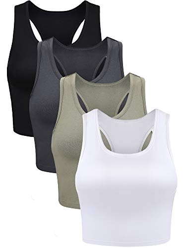 4 Pieces Basic Crop Tank Tops Sleeveless Racerback Crop Sport Cotton Top for Women (Black, White, Grey, Olive Green, Small)