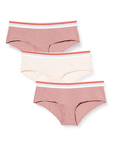 Amazon-Marke: Iris & Lilly Damen Tanga Body Natural, 3er Pack, Rosa (Nstlgrose/Sftpnk), L, Label: L