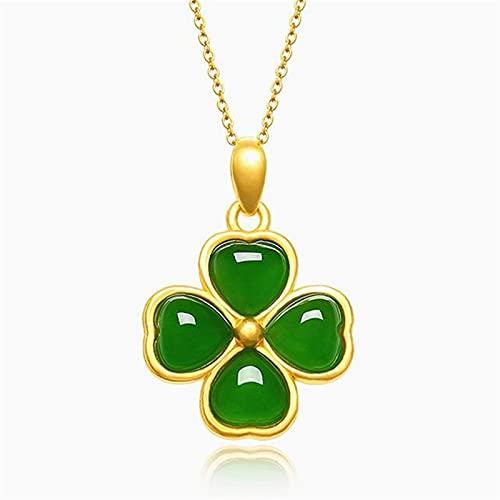YZDKJ Clásico trébol Verde Jade Gemstones 18k Color Oro Colgante Collares para Mujer Gargantilla Cadena joyería Regalo de cumpleaños (Gem Color : Pendant Necklaces)