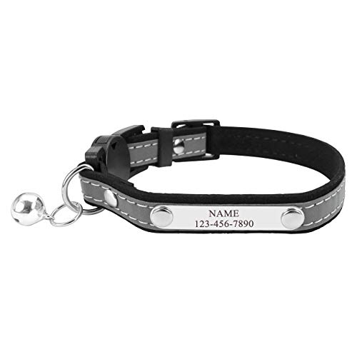 Filhome katzenhalsband mit Namen Personalisiertes Reflektierendes Katzenhalsband Bedruckt mit Namen und Telefonnummer verstellbar Halsband (Schwarz)