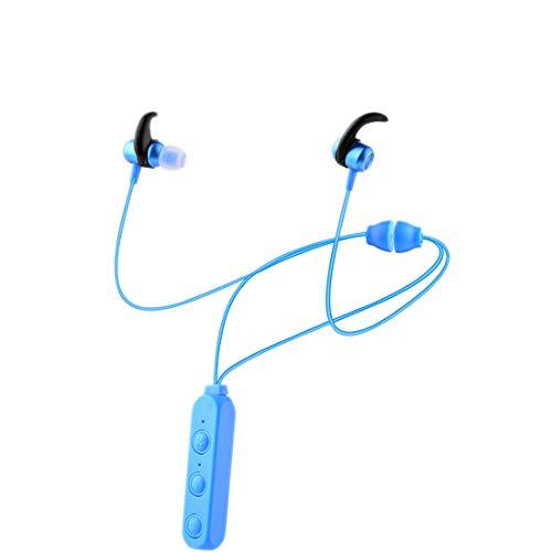 Auriculares Bluetooth 5.0 deportivos inalámbricos , IPX6 Sweatproof, gimnasio corriente de viaje con construido en Mic Collar estilo Cuello colgante Anti-perdida de atracción magnética (Azul)