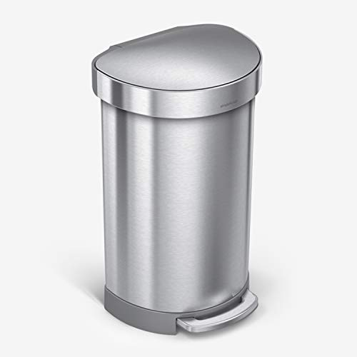 simplehuman 45 Liter/ 12 Gallon Semi-Round Hands-Free Step Trash Can, Brushed
