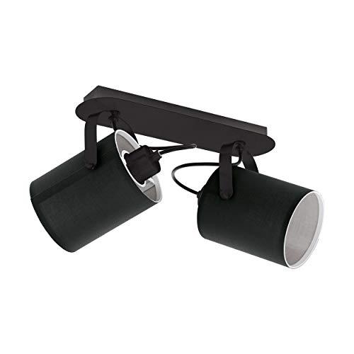 EGLO Deckenlampe Villabate, 2 flammige Deckenleuchte Modern, Klassisch, Deckenstrahler aus Stahl und Textil, Wohnzimmerlampe in Schwarz, Weiß, Küchenlampe, Spots mit E27 Fassung
