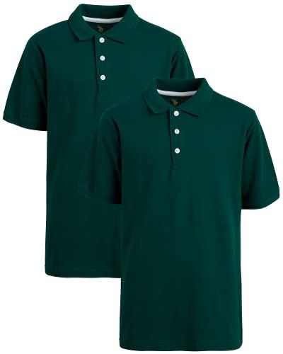 U.S. Polo Assn. Boys' School Uniform Shirt - Pique Short Sleeve Polo T-Shirt (2 Pack), Size 8, Hunter