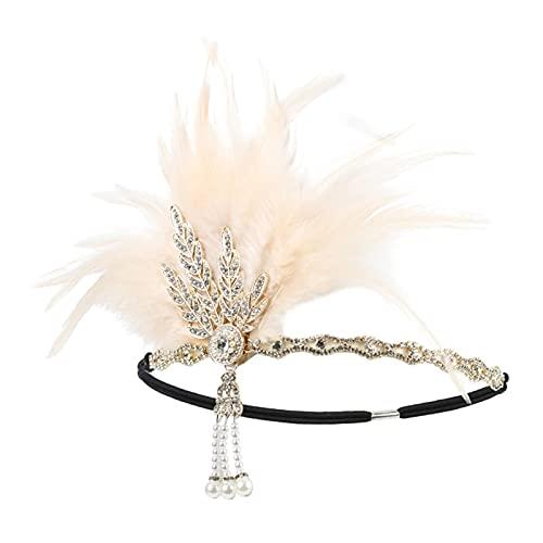 xiaofeng214 Diadema de plumas de la diadema rugiendo de los años 20 Gran Gatsby inspirado hoja medallón perla diadema mujeres accesorios para el cabello, Fibra natural,
